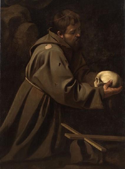 Caravage Saint François en meditation