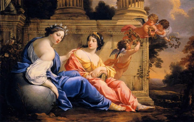 Simon Vouet . Les Muses Urania and Calliope